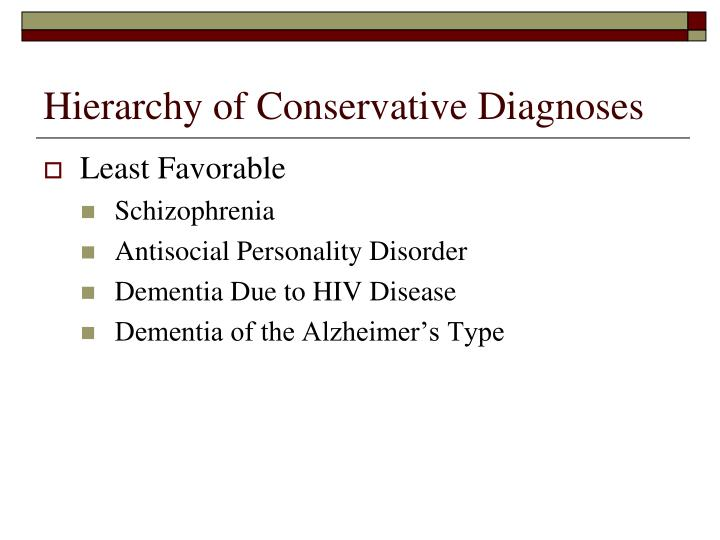 Hierarchy of Conservative Diagnoses