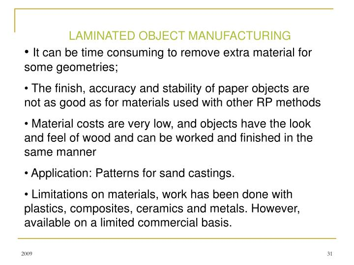 LAMINATED OBJECT MANUFACTURING