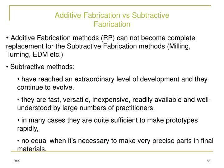 Additive Fabrication vs Subtractive Fabrication