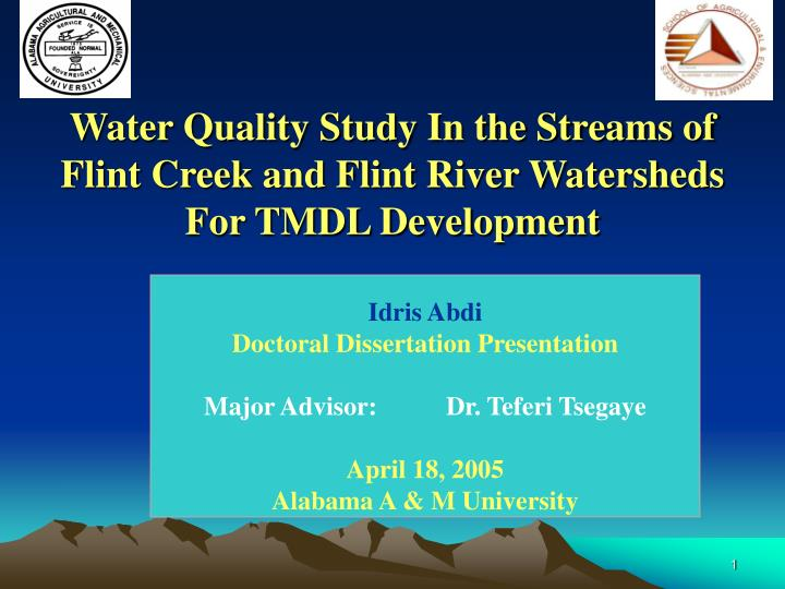 water quality study in the streams of flint creek and flint river watersheds for tmdl development n.