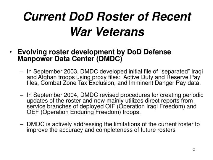 Current dod roster of recent war veterans