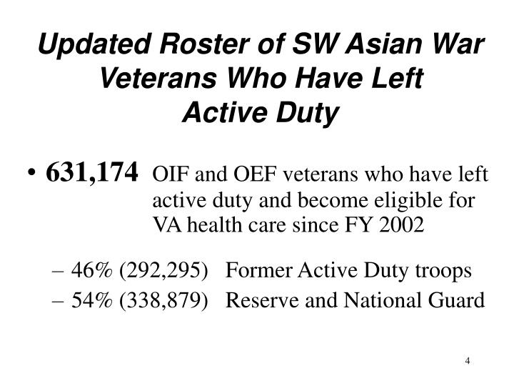 Updated Roster of SW Asian War Veterans Who Have Left       Active Duty