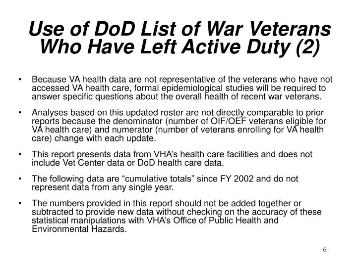 Use of DoD List of War Veterans Who Have Left Active Duty (2)
