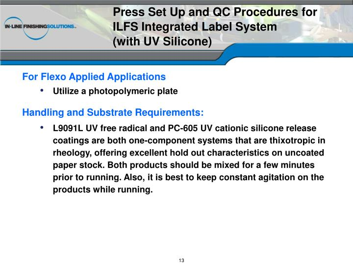 Press Set Up and QC Procedures for ILFS Integrated Label System