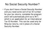 no social security number