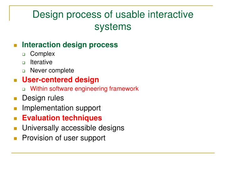 Design process of usable interactive systems