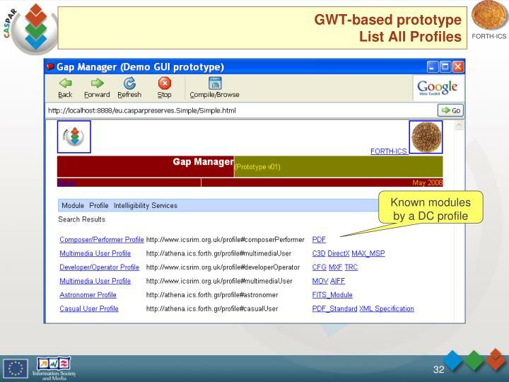 GWT-based prototype