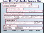 laser dry wall chamber program plan
