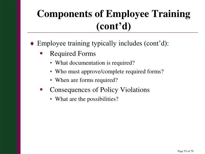 Components of Employee Training (cont'd)