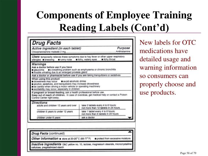Components of Employee Training Reading Labels (Cont'd)