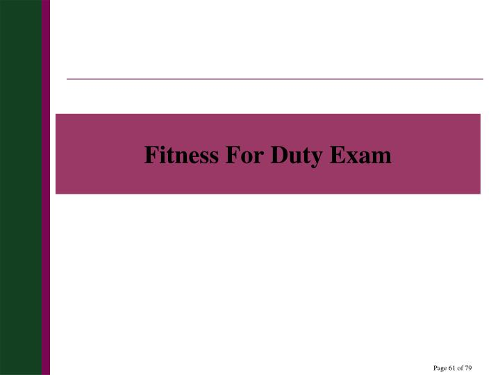 Fitness For Duty Exam