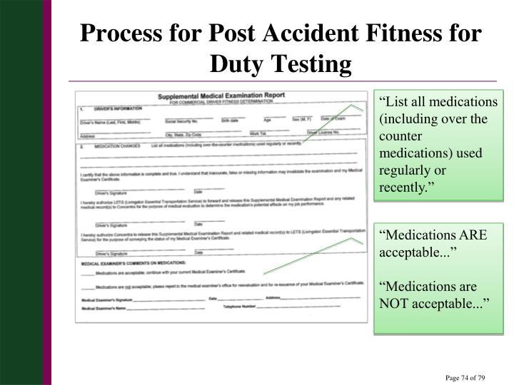 Process for Post Accident Fitness for Duty Testing