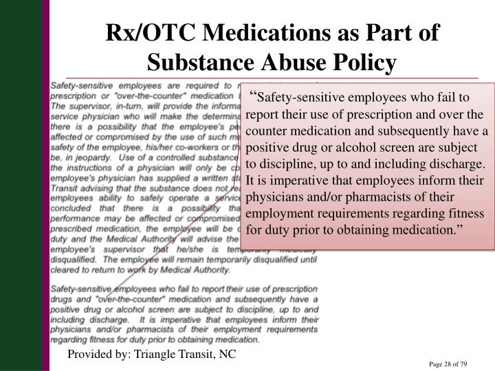 Rx/OTC Medications as Part of Substance Abuse Policy
