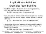application activities example team building