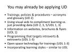 you may already be applying ud