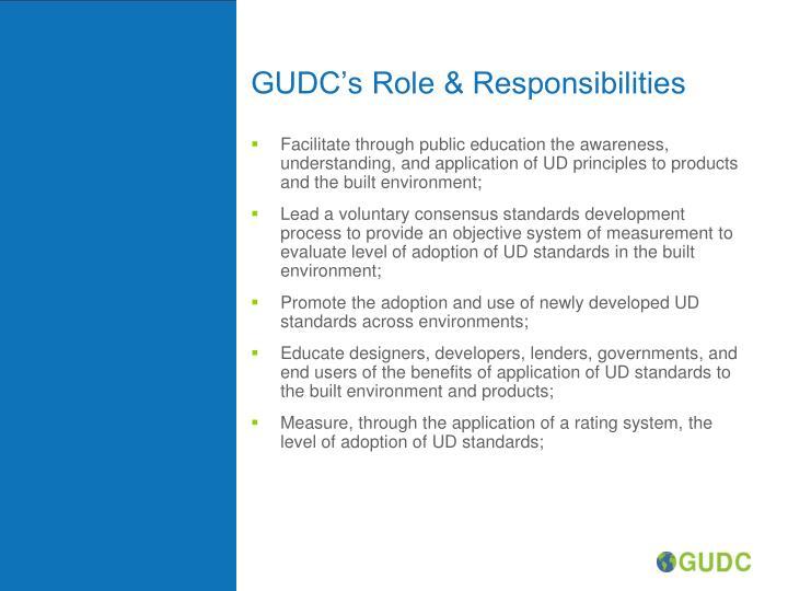 GUDC's Role & Responsibilities