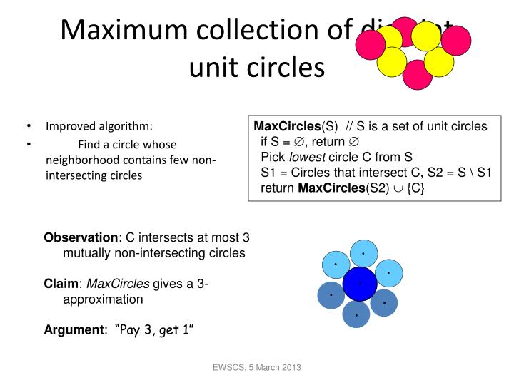 Maximum collection of disjoint unit circles