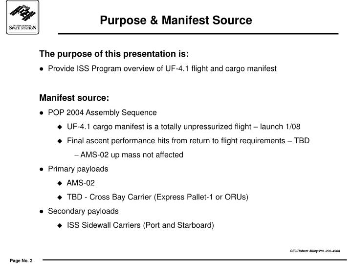 Purpose & Manifest Source