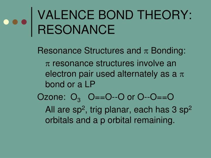 VALENCE BOND THEORY:  RESONANCE