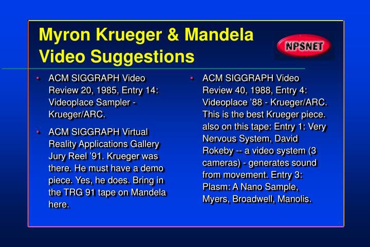 ACM SIGGRAPH Video Review 20, 1985, Entry 14: Videoplace Sampler - Krueger/ARC.