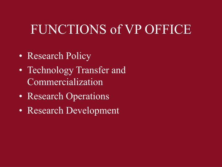 Functions of vp office