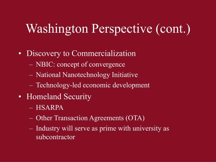 Washington Perspective (cont.)