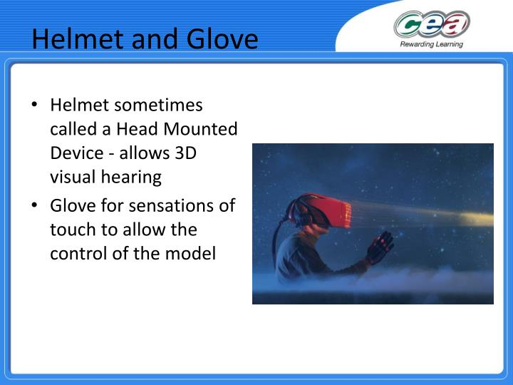 Helmet sometimes called a Head Mounted Device - allows 3D visual hearing