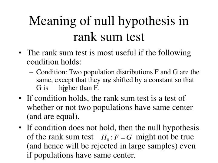 Meaning of null hypothesis in rank sum test