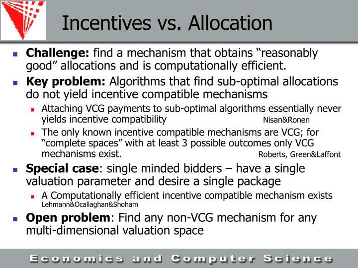 Incentives vs. Allocation
