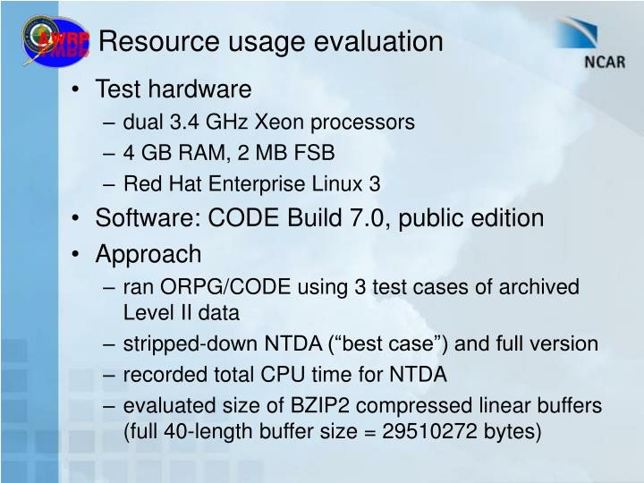 Resource usage evaluation