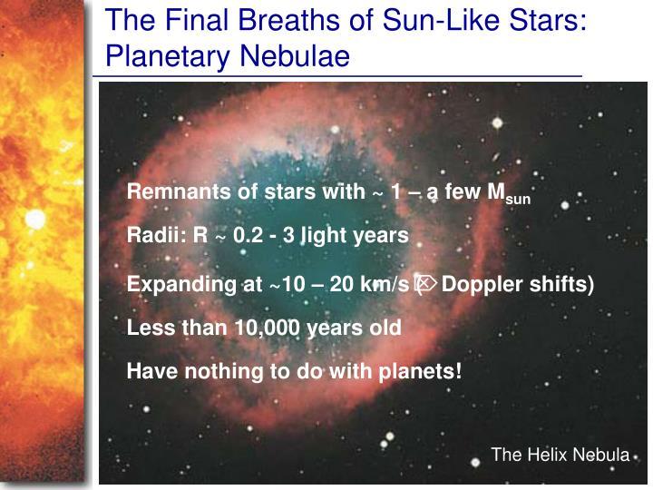 The Final Breaths of Sun-Like Stars: Planetary Nebulae