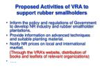 proposed activities of vra to support rubber smallholders