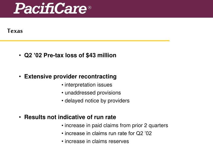Q2 '02 Pre-tax loss of $43 million