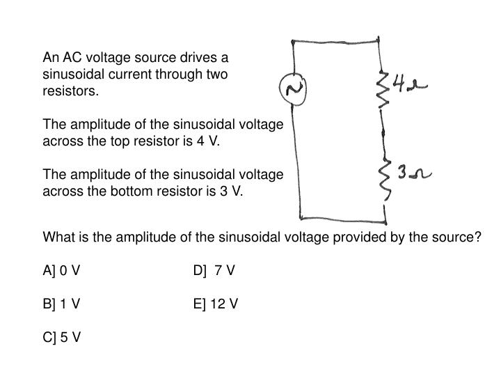 An AC voltage source drives a sinusoidal current through two resistors.