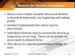 reasons for element breakdown