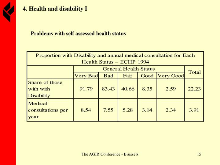 4. Health and disability I
