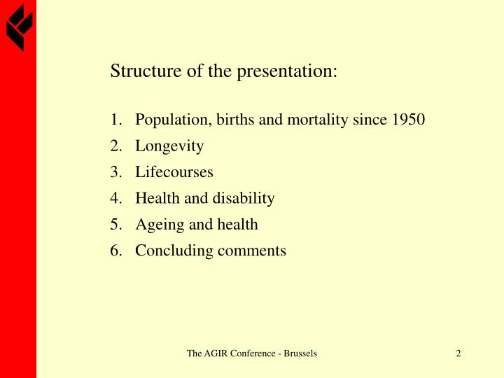 Structure of the presentation: