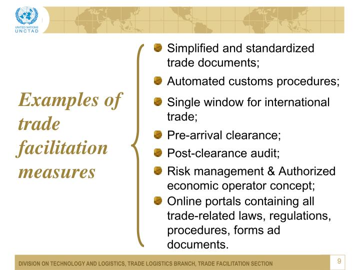 Examples of trade facilitation measures