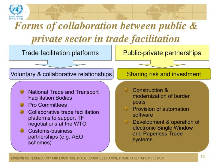 Forms of collaboration between public & private sector in trade facilitation
