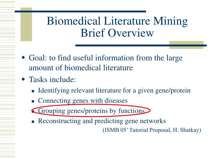 Biomedical literature mining brief overview