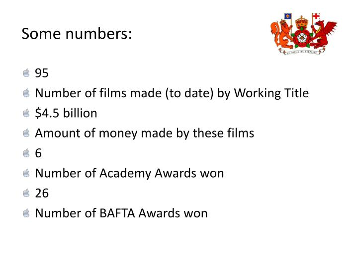 Some numbers: