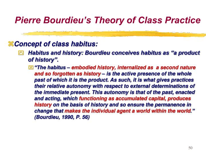 bourdieu structures habitus practices Outline of a theory of practice is the principle which negotiates between objective structures and practices, bourdieu is bourdieu suggests that habitus.