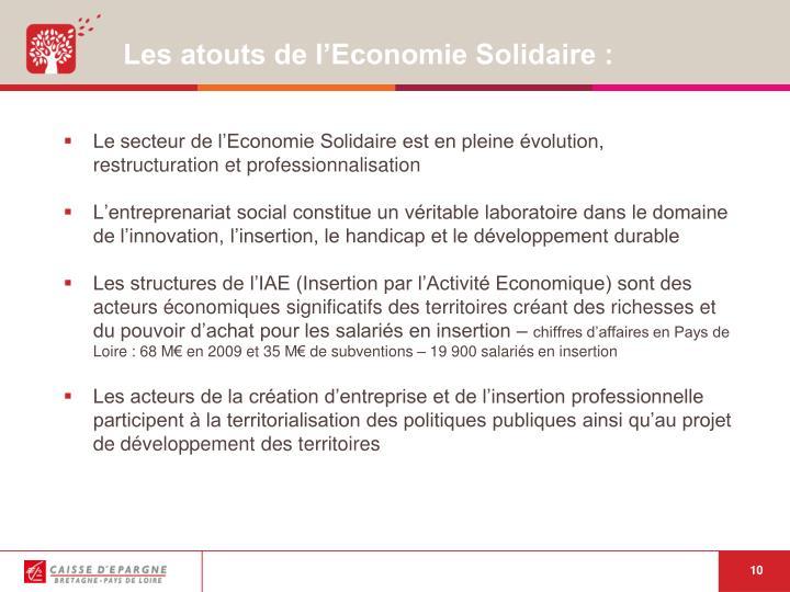 Les atouts de l'Economie Solidaire :