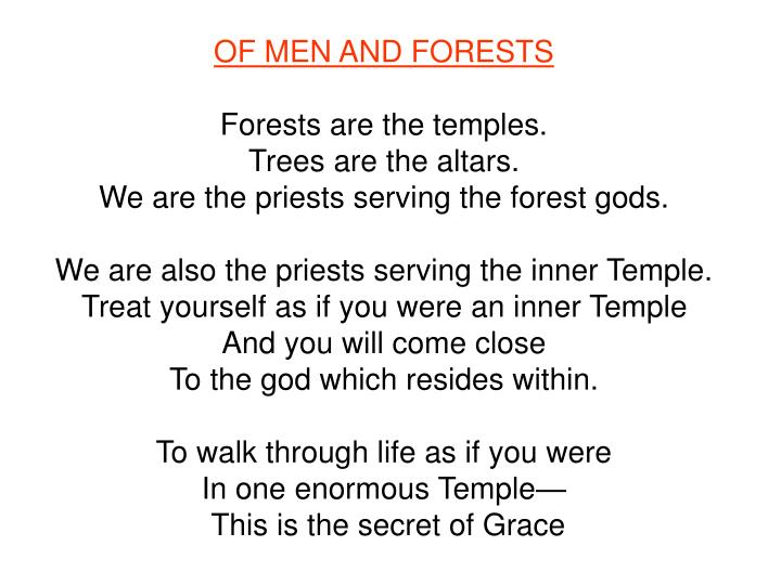 OF MEN AND FORESTS