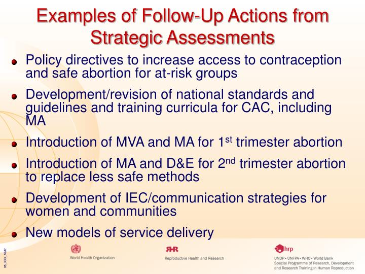 Examples of Follow-Up Actions from Strategic Assessments