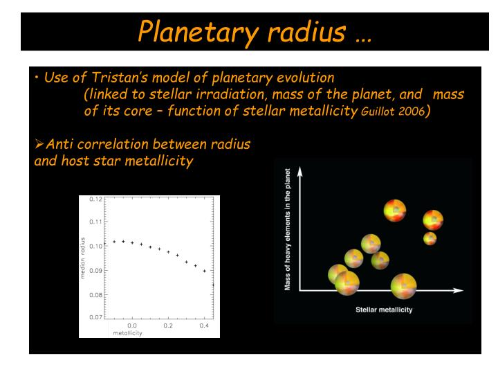 Planetary radius …