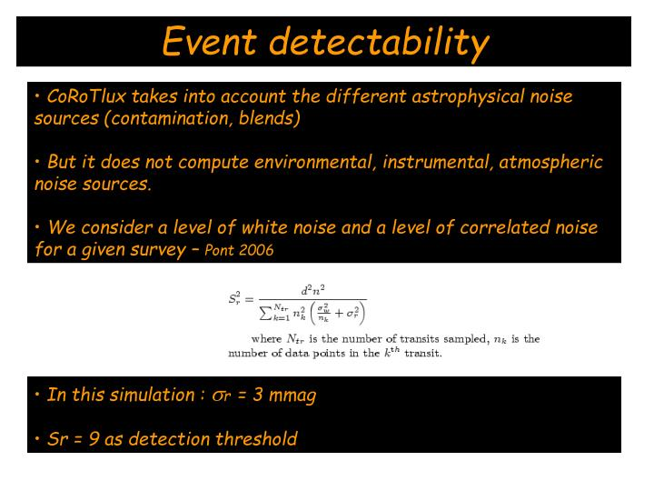 Event detectability