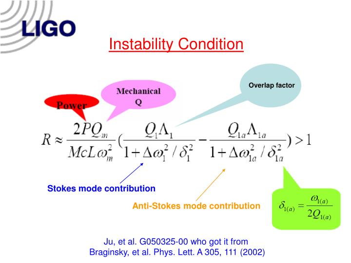 Instability condition