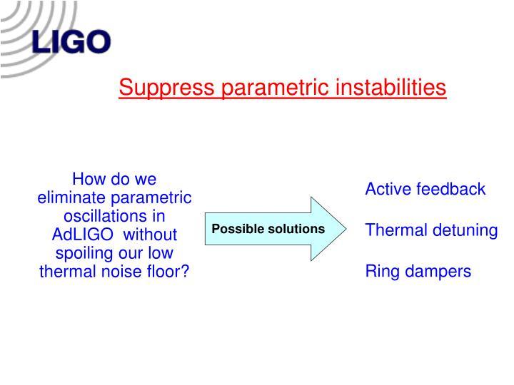 Suppress parametric instabilities