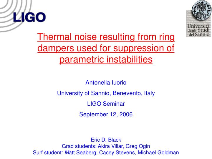 Thermal noise resulting from ring dampers used for suppression of parametric instabilities